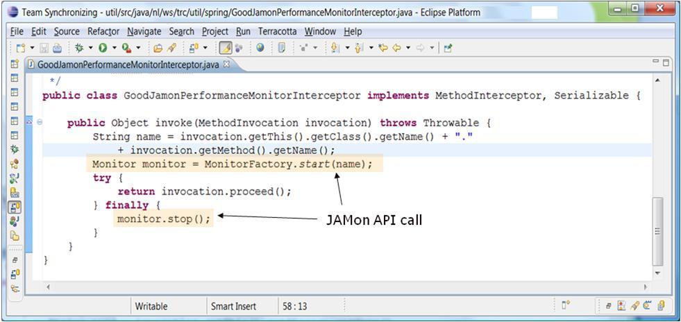 JAMon API start() and stop() calls in a Spring interceptor