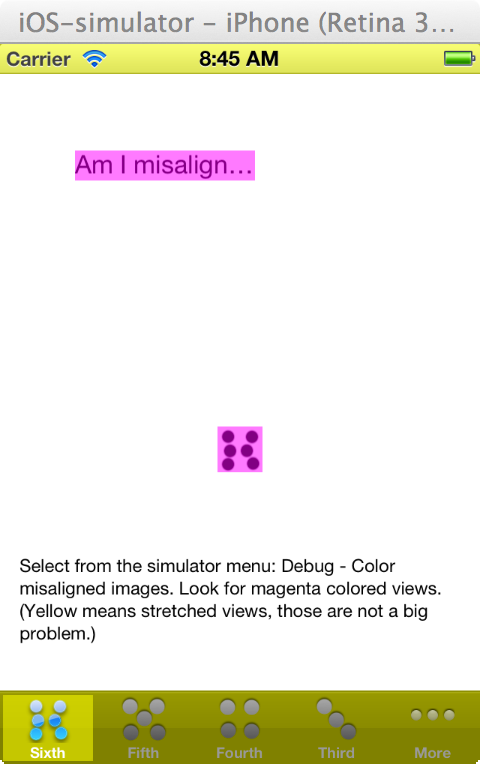 Misaligned pixels in iOS simulator