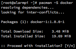 Installing docker with pacman