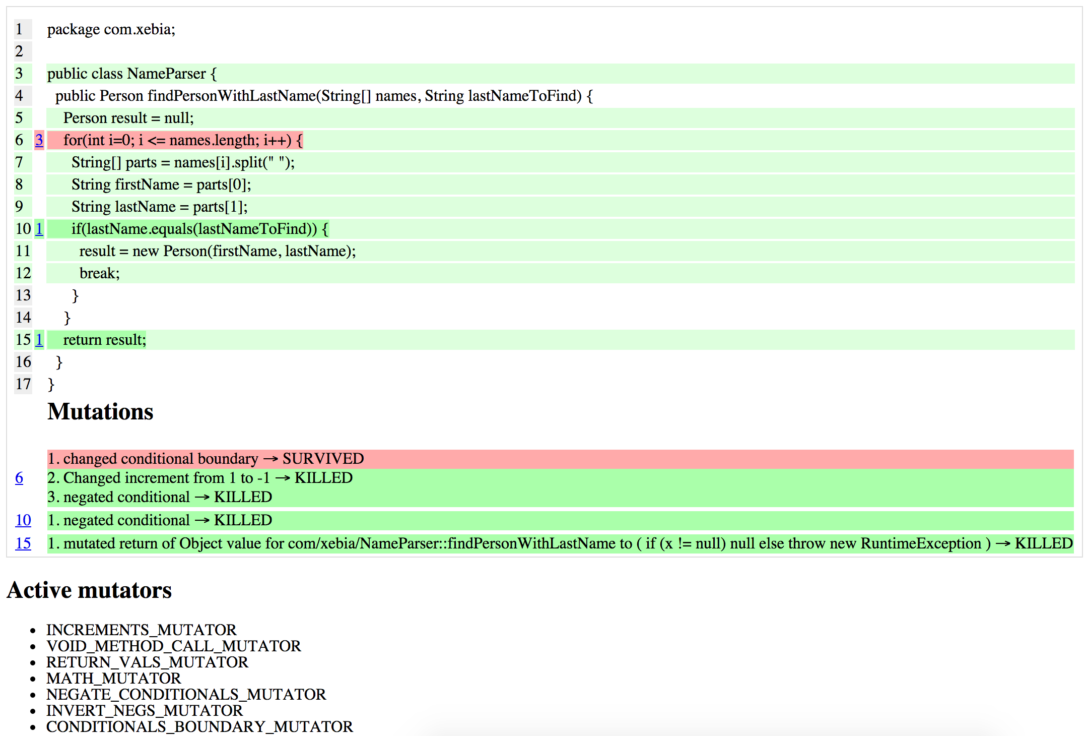 NameParser mutation testing results