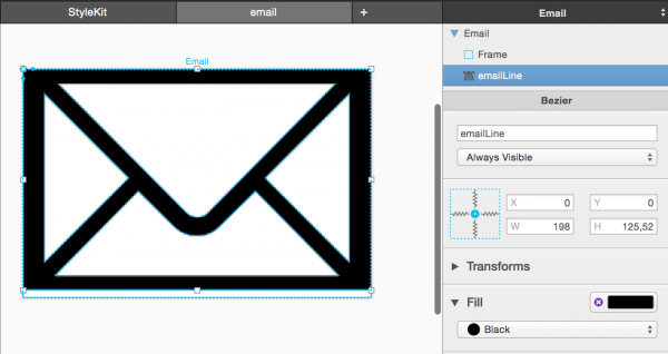 Email icon in PaintCode