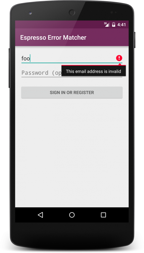 Android TextView with Error Message