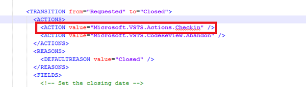 Figure 2 - Removing the Checkin action from the work item type XML