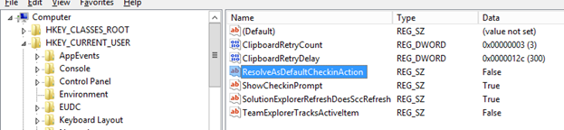 Figure 3 - Changing the ResolveAsDefaultCheckinAction string value in the registry