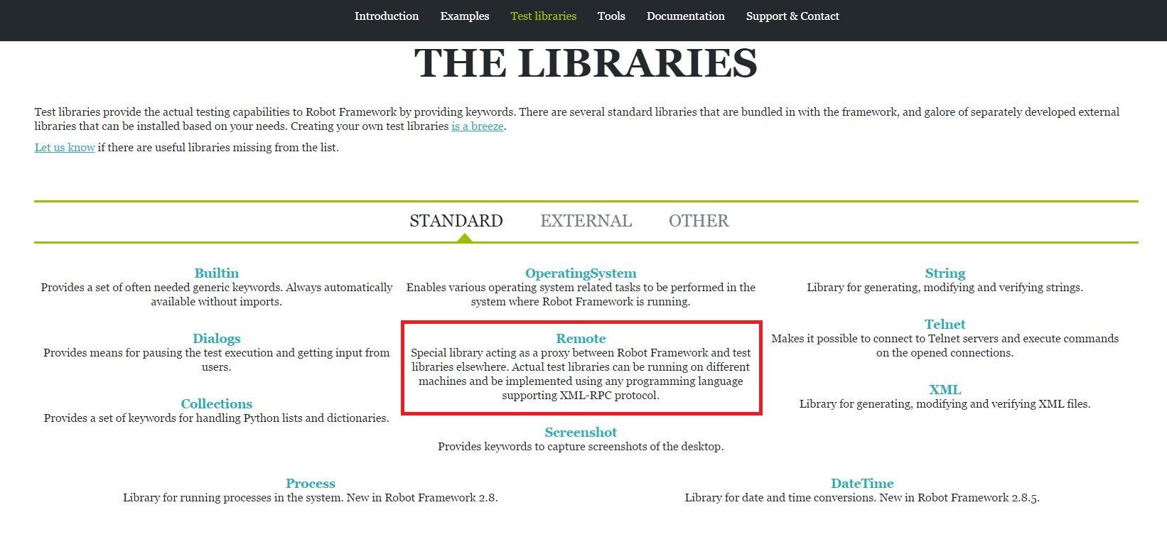 Standard libraries