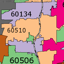 Joliet Illinois Zip Code Boundary Map IL