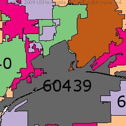 Joliet Illinois Zip Code Boundary Map IL