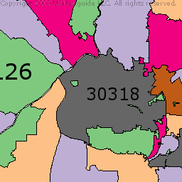 Atlanta, Georgia Zip Code Boundary Map (GA)