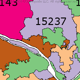 Pittsburgh Pennsylvania Zip Code Boundary Map PA