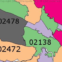 Newton Massachusetts Zip Code Boundary Map MA