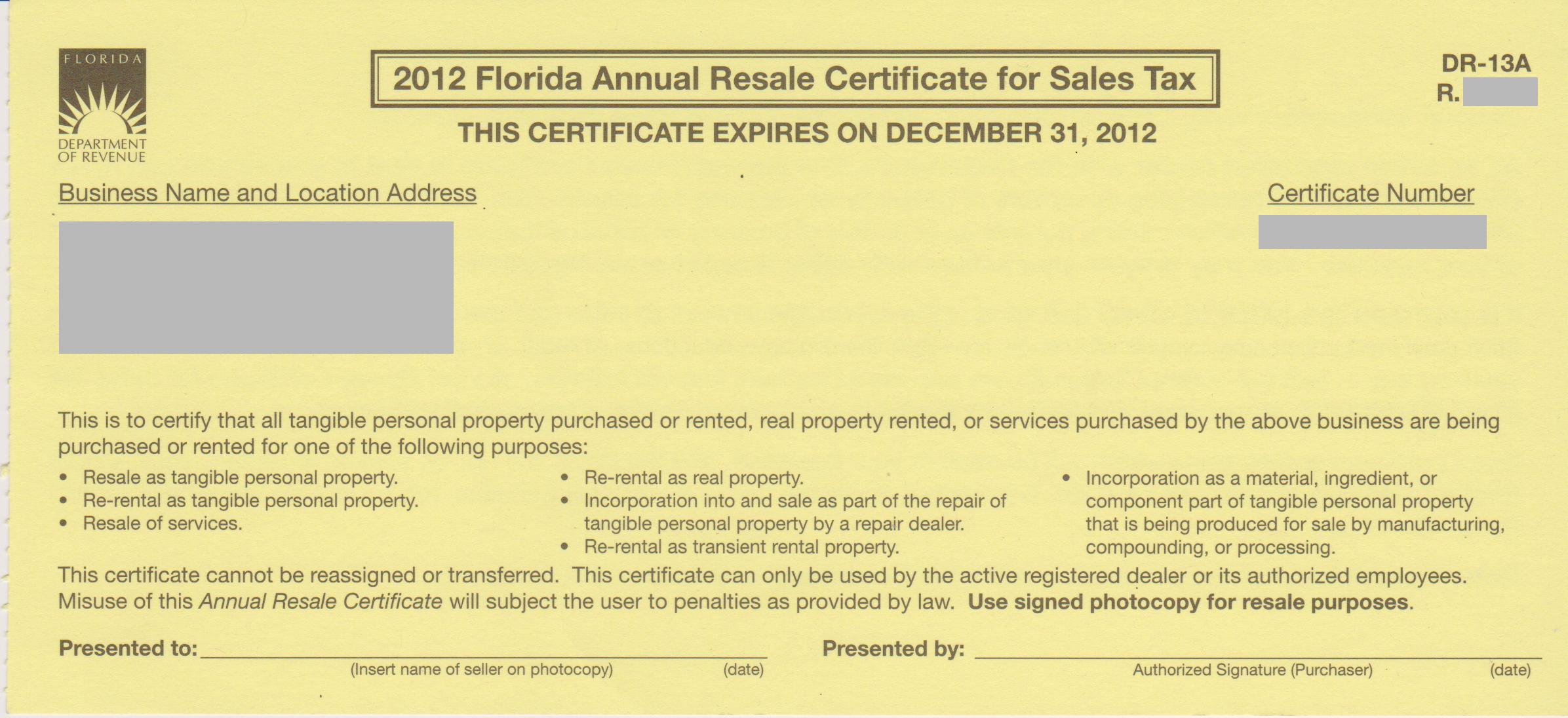 Resale certificate form by state b stock buyer help center a copy of your fl resale certificate issued by the state taxing authority xflitez Image collections