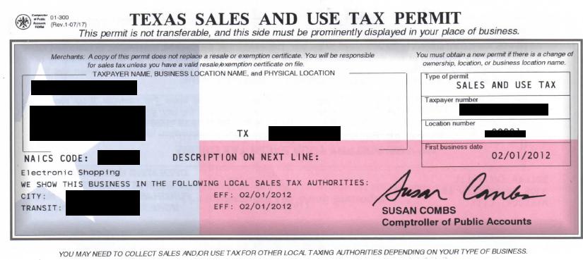 Reseller Permit Number Reseller Permit Sales Tax