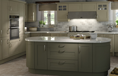 Shaker Cologne kitchen in Dakar and Olive finish