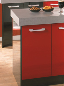 Close up of Premier Duleek kitchen doors in High Gloss Red and High Gloss Black