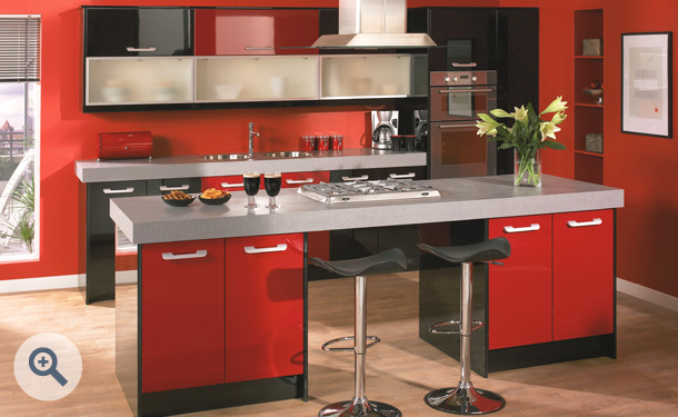 High Gloss Red and High Gloss Black kitchen picture