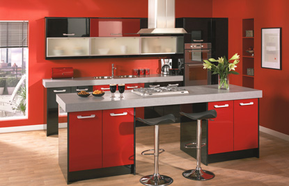 Premier Duleek kitchen doors in High Gloss Red and High Gloss Black