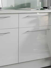 Close up of Premier Duleek kitchen doors in High Gloss White and Brown Santana