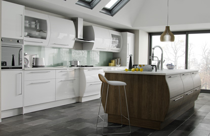Premier Duleek kitchen in High Gloss White and Brown Santana finish