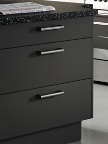 Close up of Premier Duleek kitchen doors in Mussel and Graphite