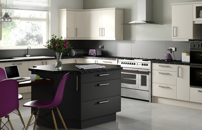 Premier Duleek kitchen doors in Mussel and Graphite