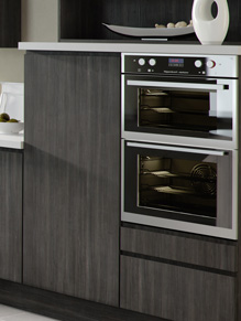 Close up of Handleless Europe kitchen doors in Avola Grey and Avola White