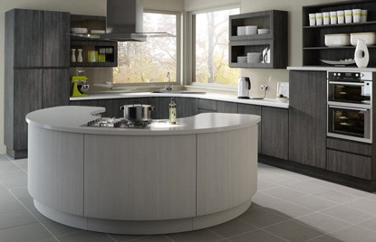 Handleless Europe kitchen doors in Avola Grey and Avola White
