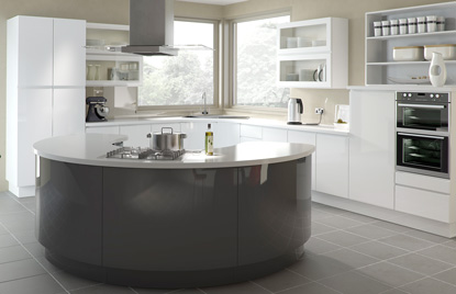 Handleless Europe Kitchen In High Gloss White And High Gloss Anthracite  Finish
