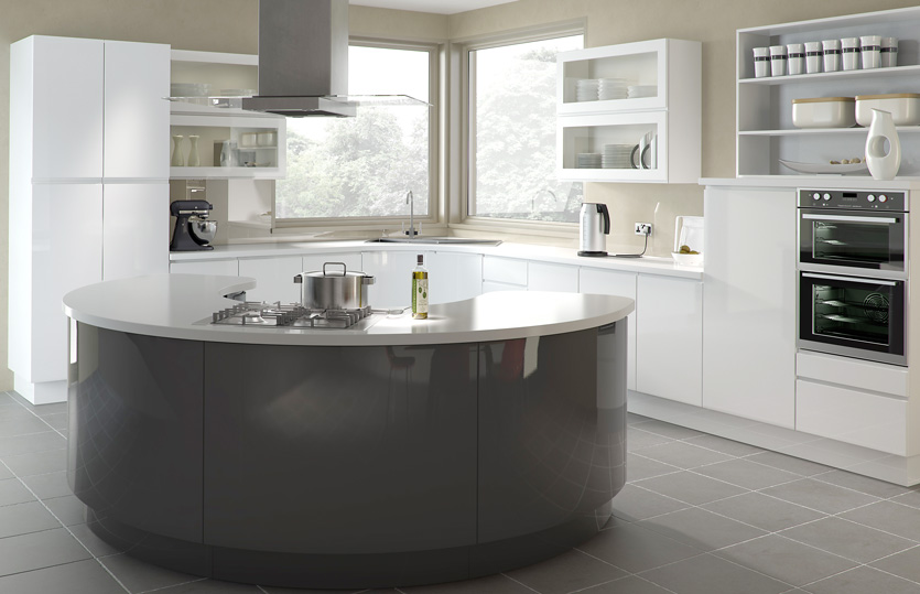 Handleless Europe Kitchen Doors In High Gloss White And