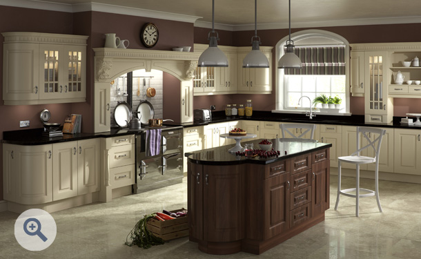 Cream and Dark Walnut kitchen picture