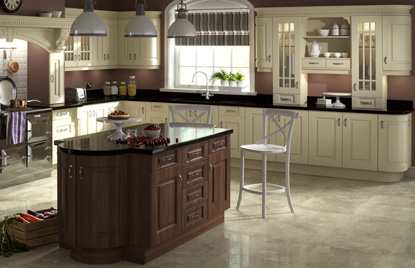 Beaded Prague kitchen doors in Cream and Dark Walnut