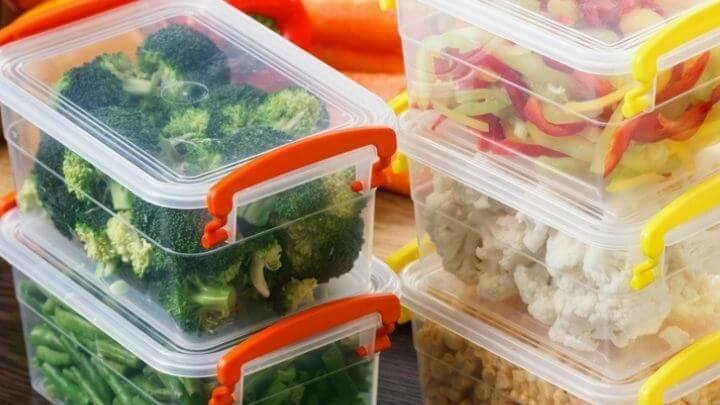 Vegetables in plastic topperware