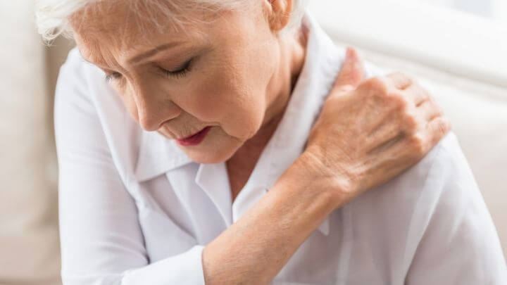Older woman with shoulder pain