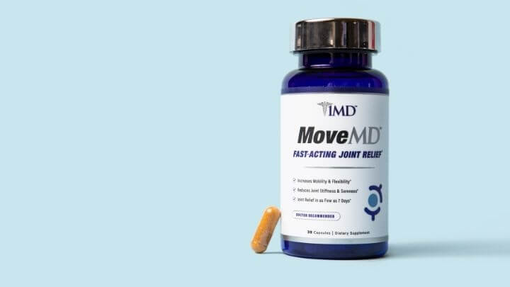 MoveMD bottle with one capsule next to it