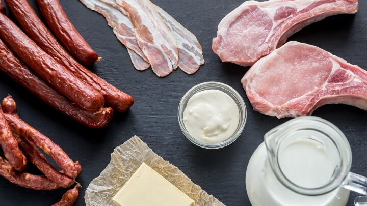 Food rich in saturated fat