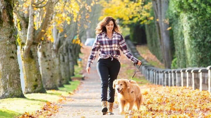 A woman briskly walking her dog