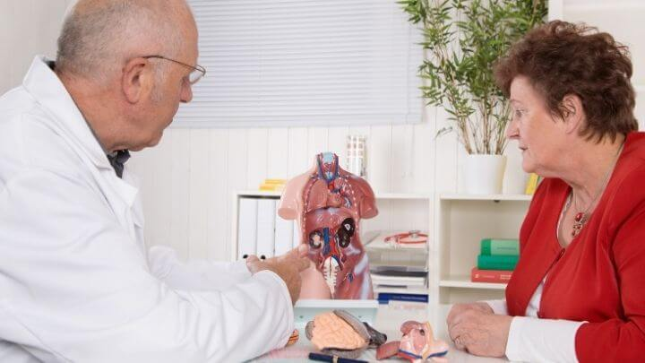 Patient consulting with her doctor