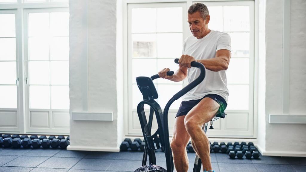 Man exercising on an exercise bike