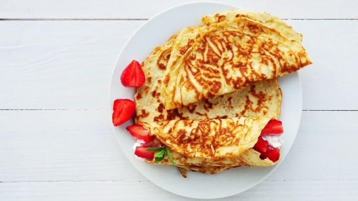A gluten-free coconut crepe wrap with fruit