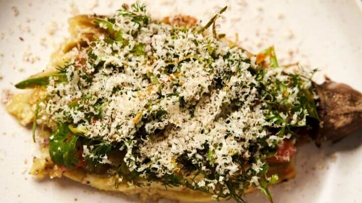 Baked eggplant crust with cheese and veggies