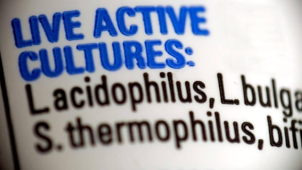 Probiotics label
