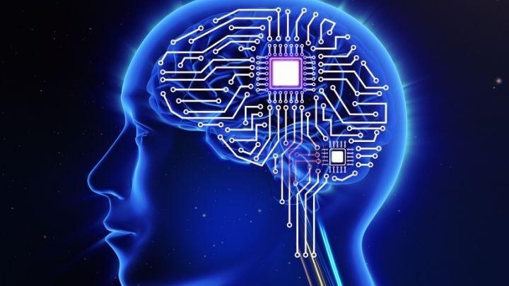 Human brain as a computer concept illustration
