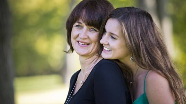 Mother and her daughter in the park