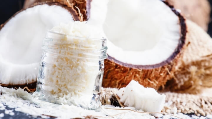 Shaved coconut in a jar
