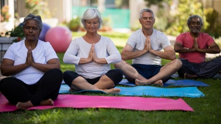 Senior citizens doin yoga in the park