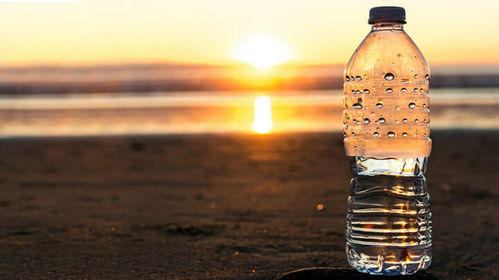 A plastic water bottle in the beach
