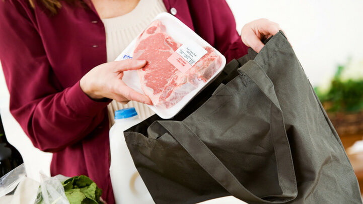 Plastic package for meat