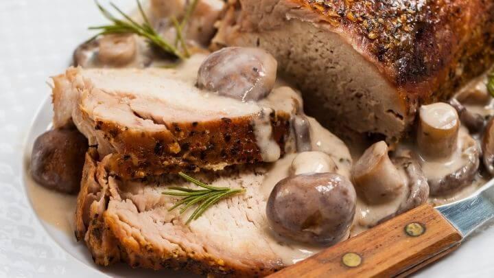 Roasted pork with mushroom and sauce