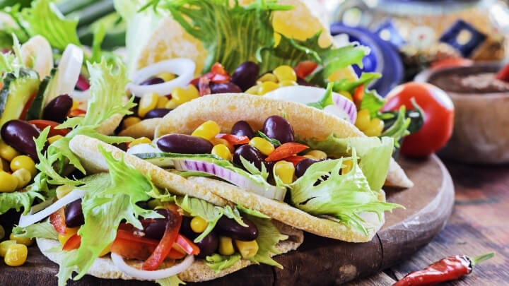 Vegetarian tacos with beans and corn