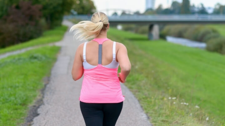A woman jogging in the park