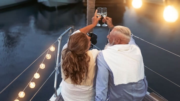 A senior couple enjoying a night out